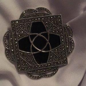 Vintage Judith Jacks Onyx Marcasite Pin/Brooch